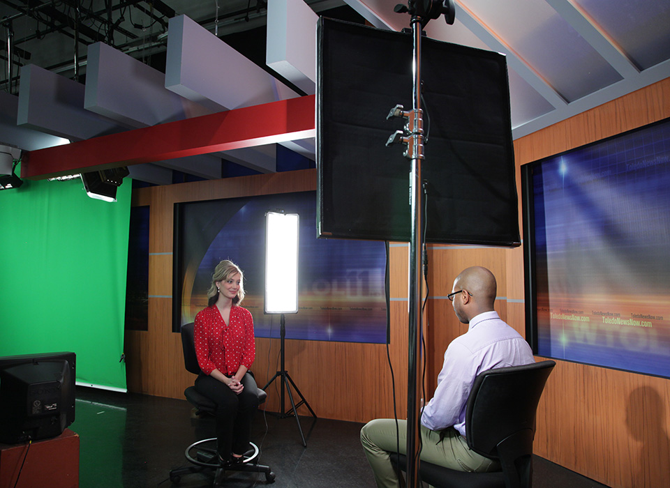 Broadcast news interview lit using Scrim Jim Cine and Flex LED