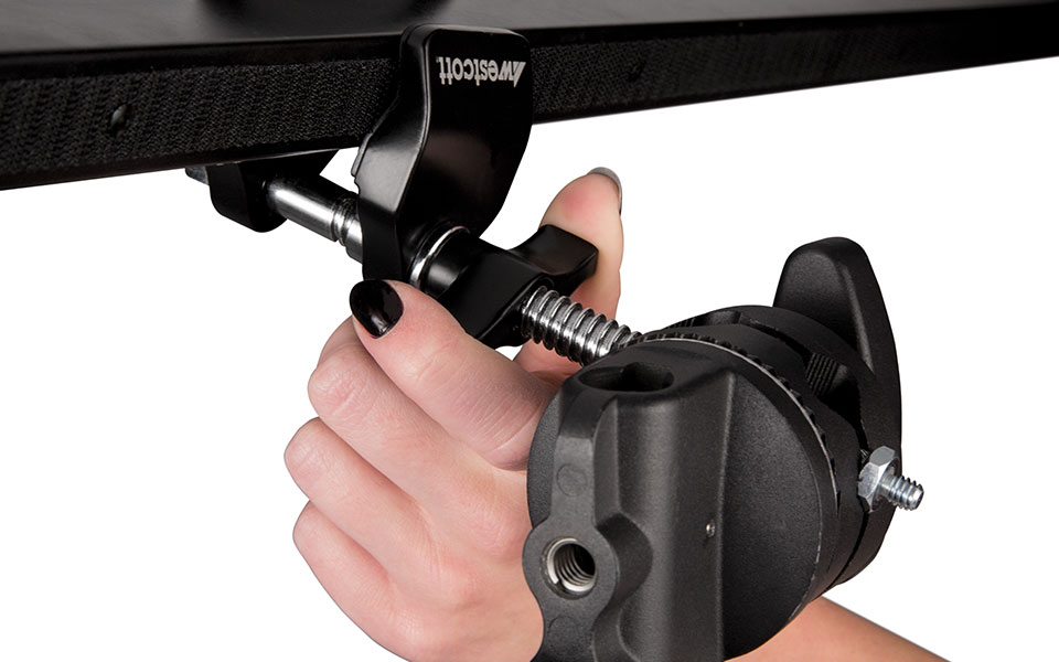 Grip head in use on light stand mounting Scrim Jim Cine light control kit