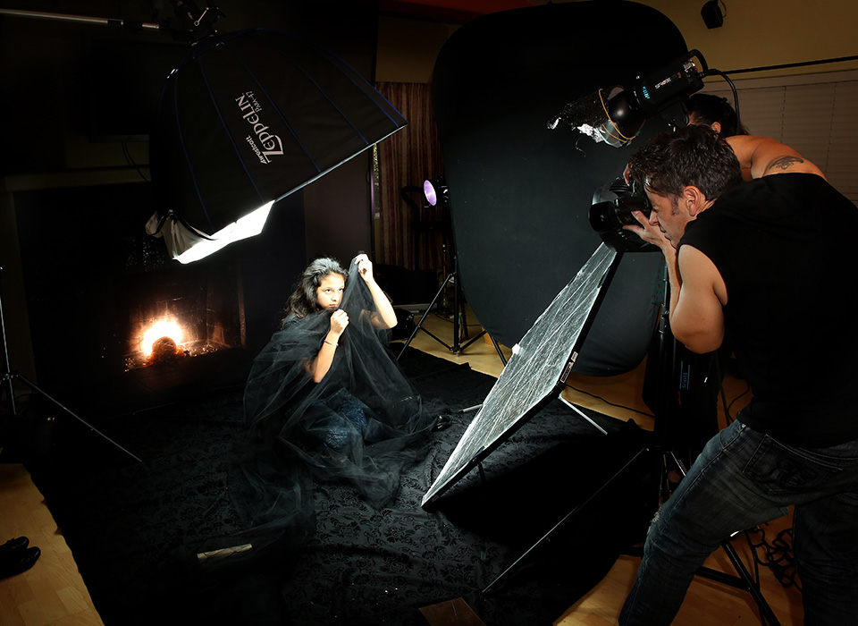 Photo studio behind the scenes using Scrim Jim Cine framework and fabrics