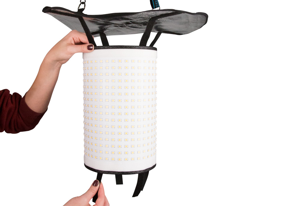 Quickly attach Flex LED mats to drum softbox