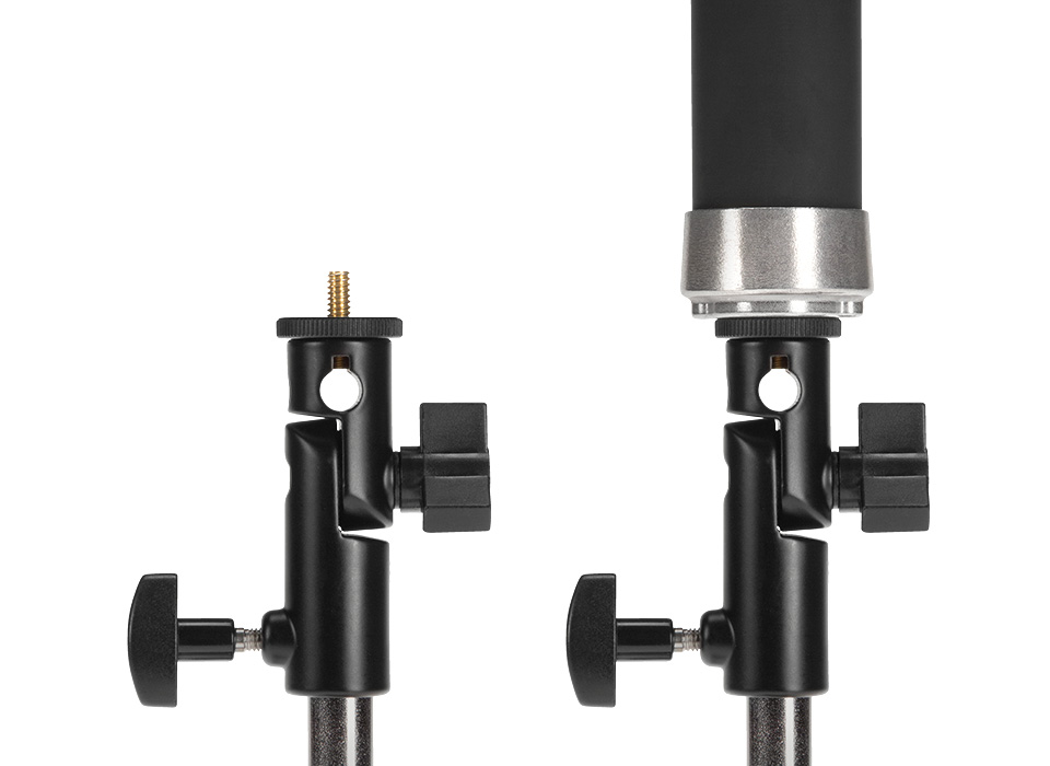 Adjustable bracket with 1/4-20 thread mounting to light stand