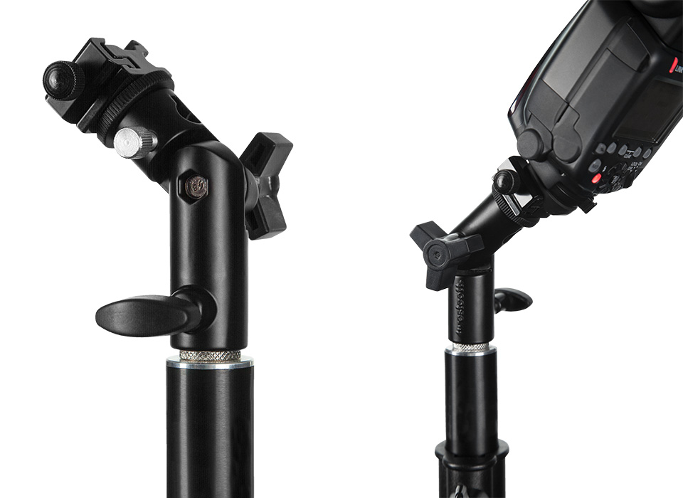 Adjustable speedlight mount bracket tilting forward and backwards