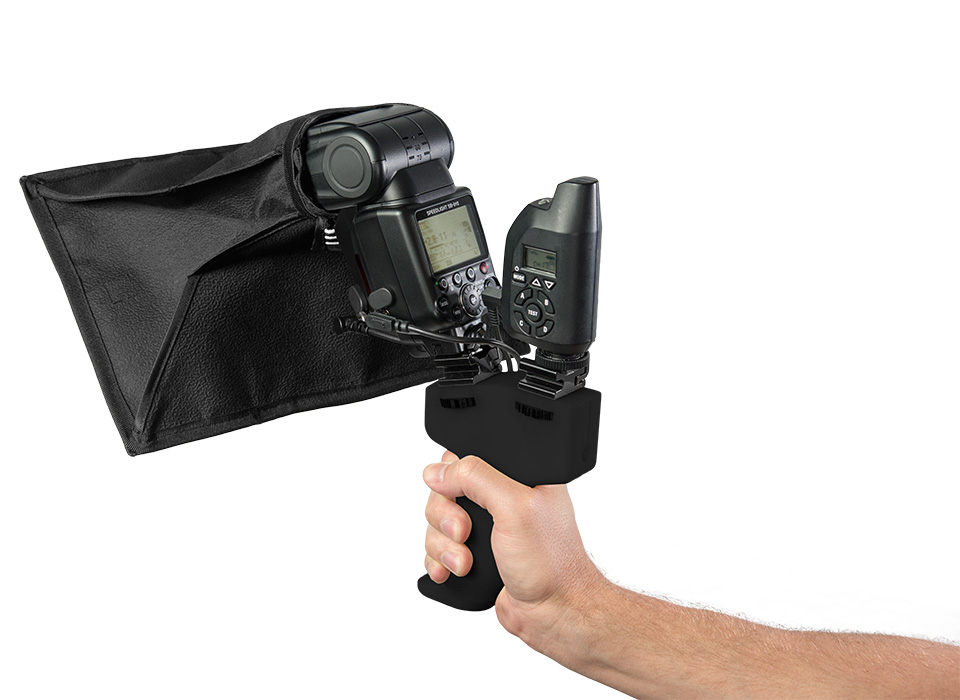 ProGrip off-camera flash handle with Pocket Box speedlite modifier