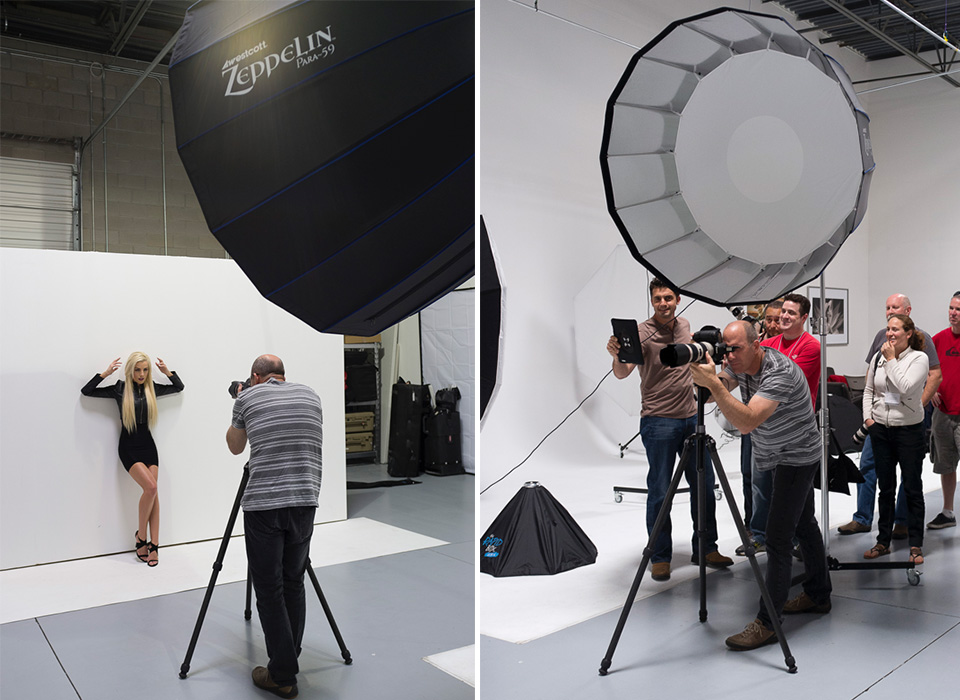 Zeppelin deep parabolic softbox with strobe in use during fashion model photo shoot