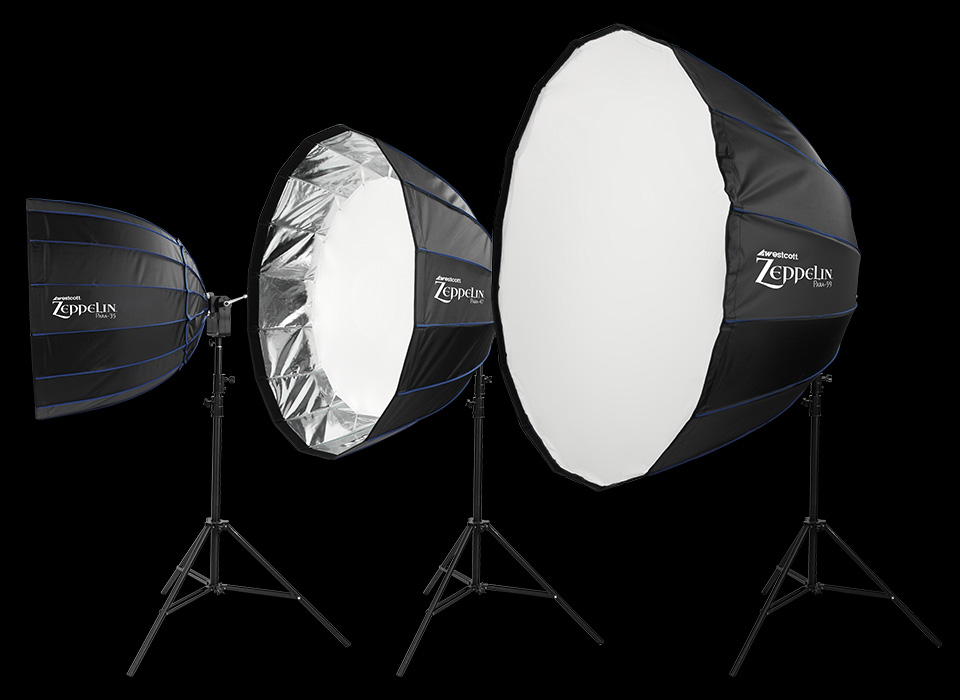 Zeppelin deep parabolic softbox size options