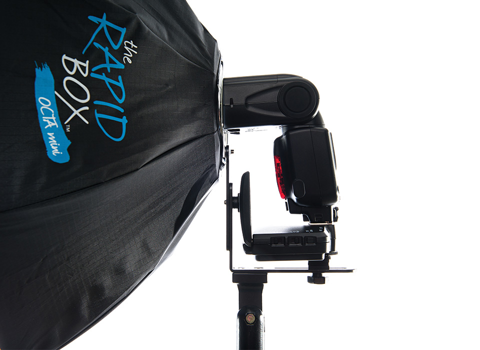 Rear mounted speedlight on Rapid Box softbox tilt bracket
