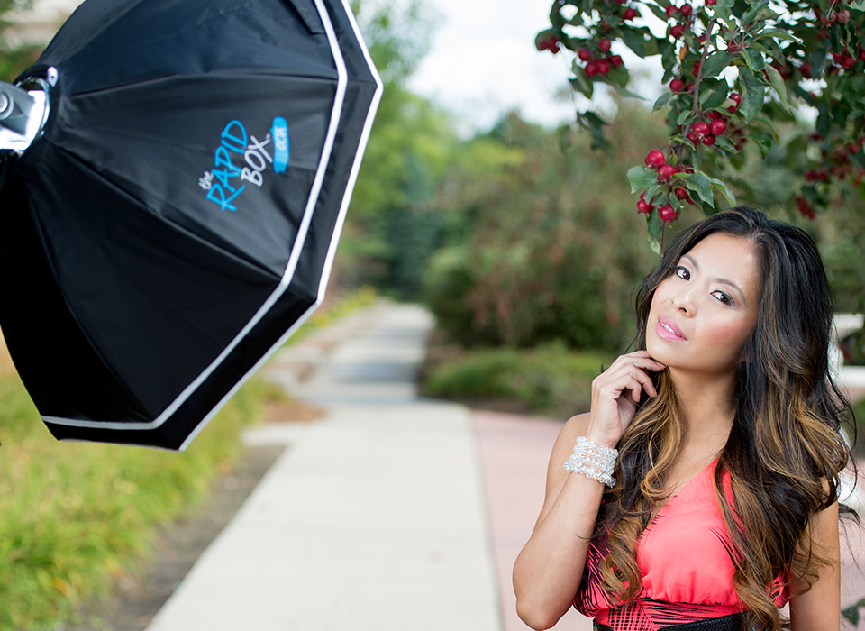Terry White photo shoot using Rapid Box and deflector plate beauty dish with speedlites