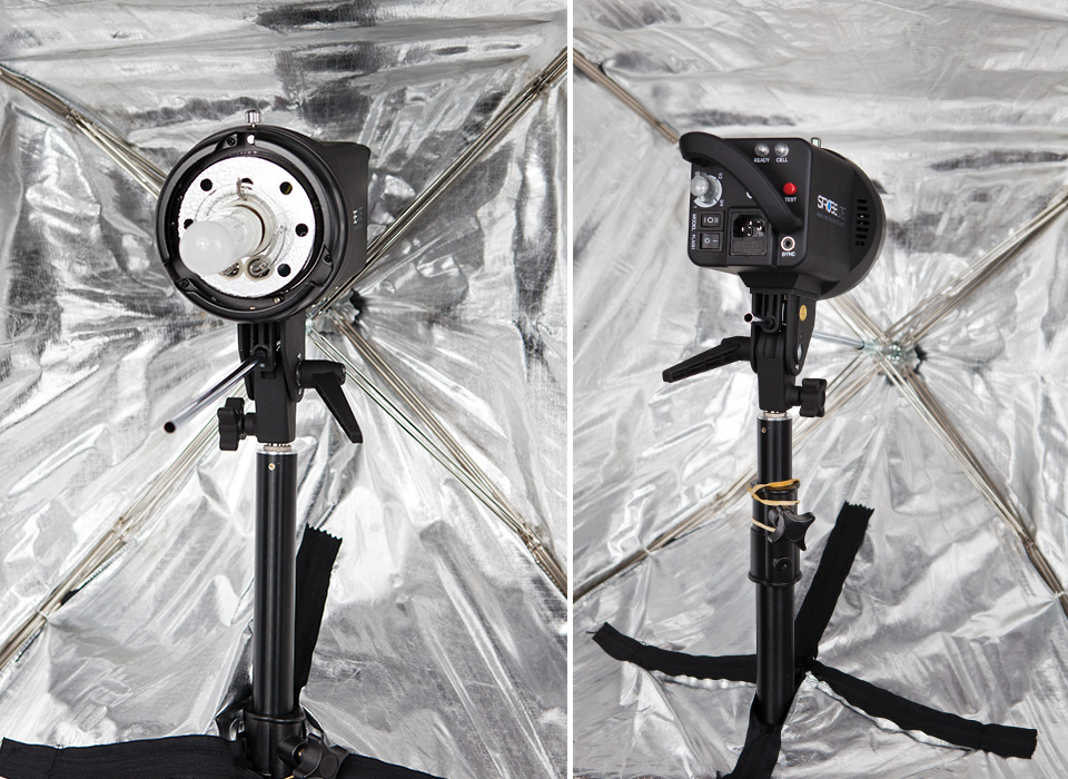 Light source facing front or back of Apollo collapsible softbox