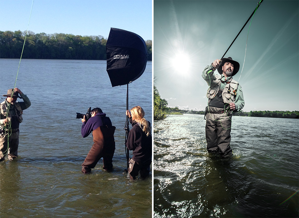 Photo shoot on location of pro fisherman using Apollo Orb softbox