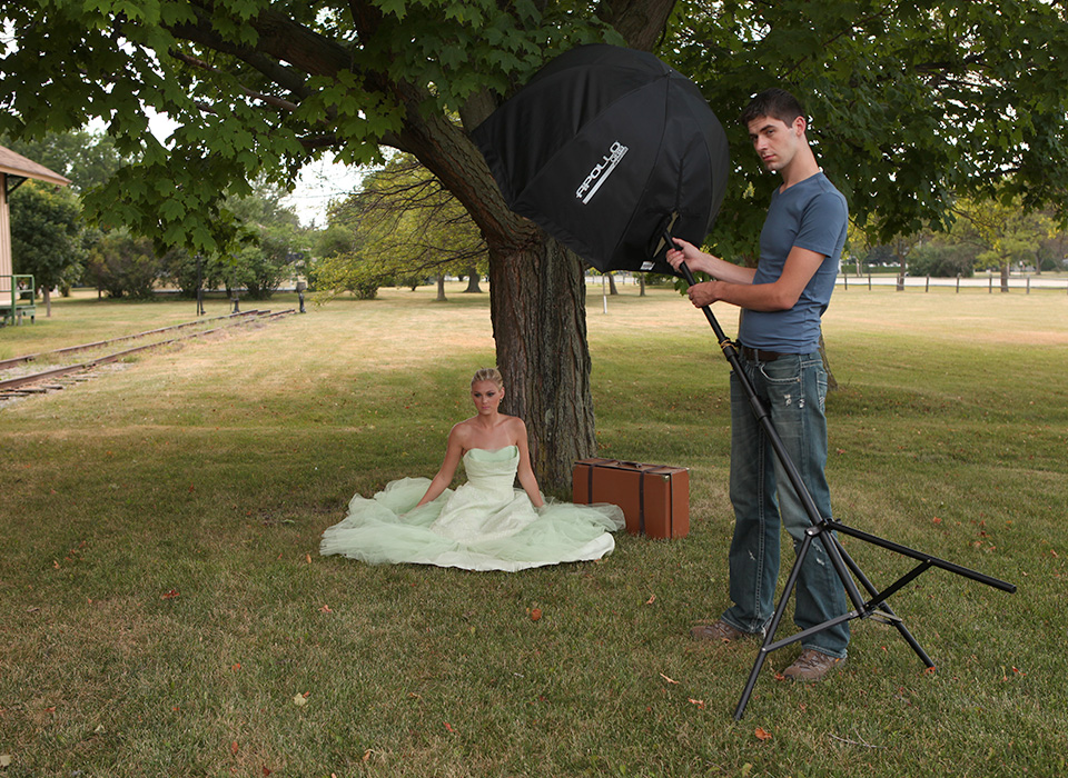 Outdoor portrait lighting setup using Apollo Orb collapsible octagonal softbox