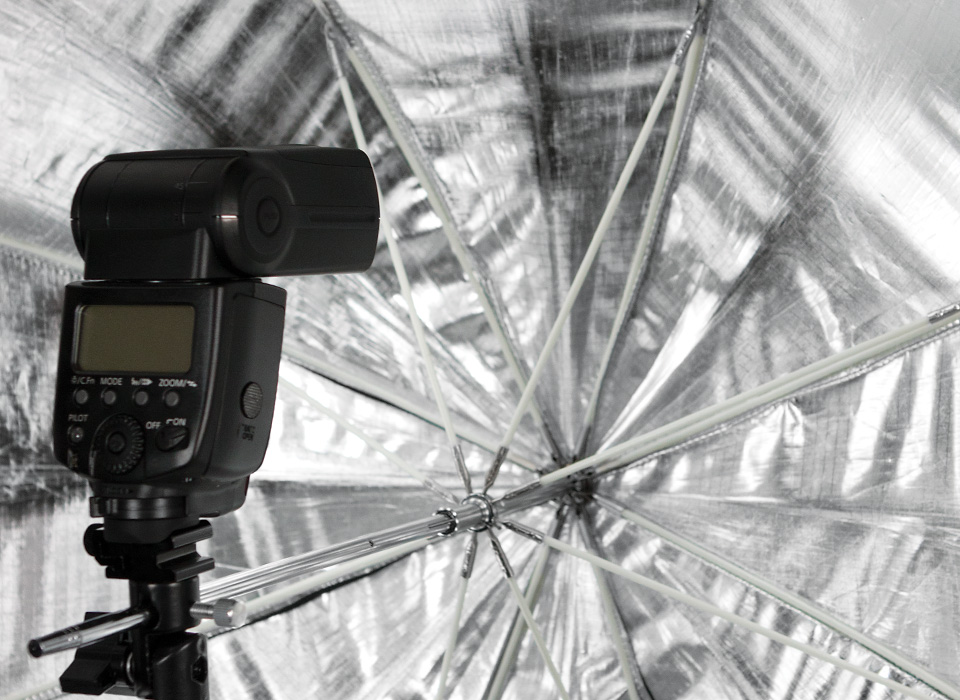 Apollo umbrella softbox with speedlight