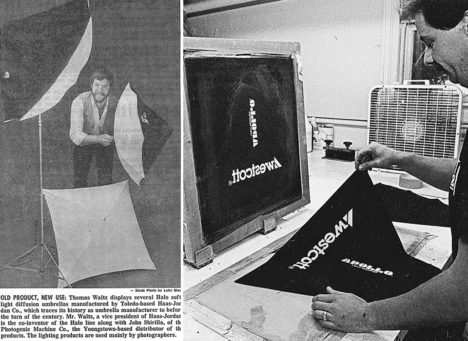 Apollo and Halo softbox inventor Tom Waltz newspaper clipping and screen print production photo