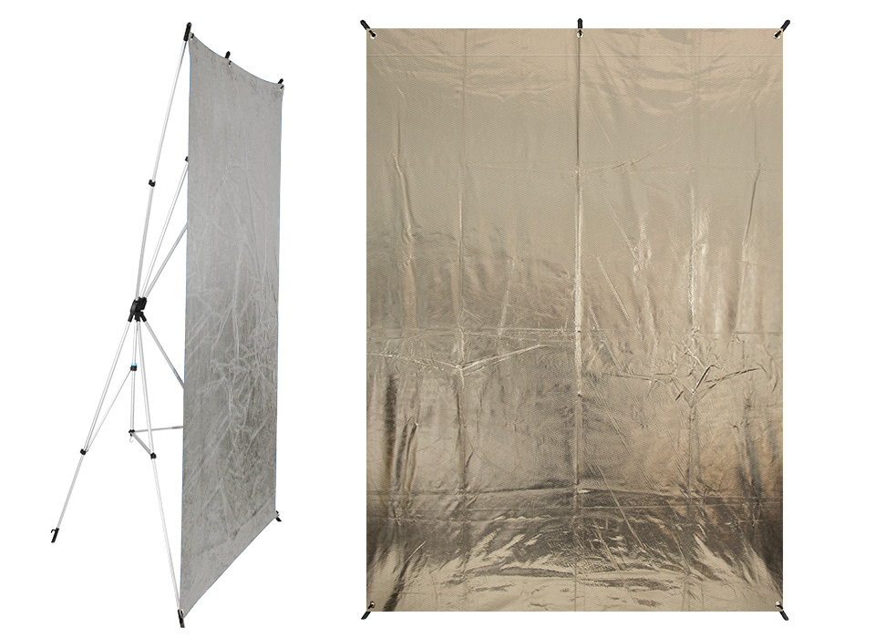 Large Reflective Fabric Mounted on X-Drop Frame