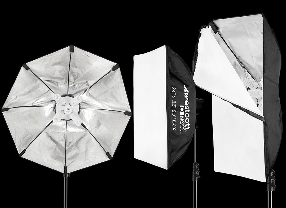 D5 square softbox, strip softbox, and octagonal softbox