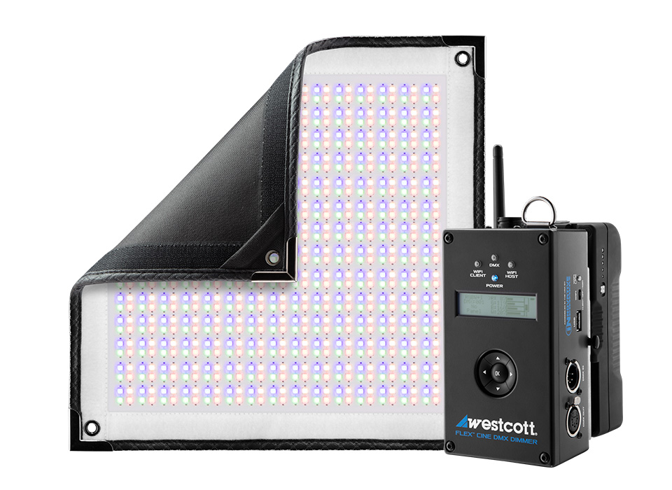 Flexible RGBW LED mat with smart wireless DMX dimmer