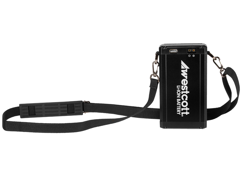 Flex battery compact casing with travel strap