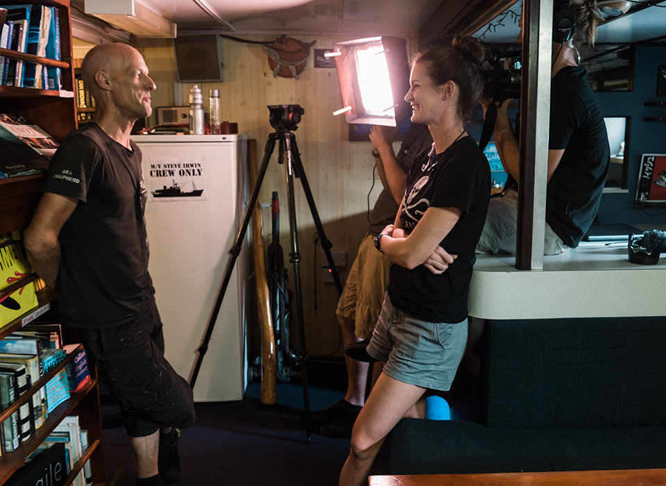 On set of Whale Wars interview being lit with Flex LED Travel Kit