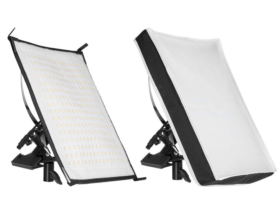 Flex LED X-Bracket mount and diffusion fabric