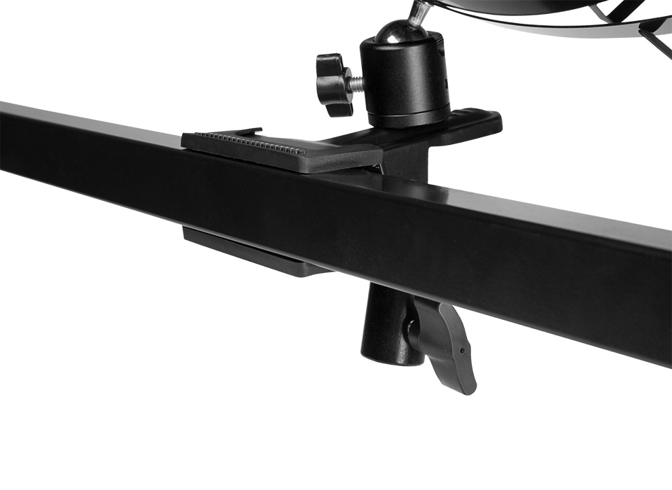 Flex LED X-Bracket mount clamped to a thick 2-inch surface