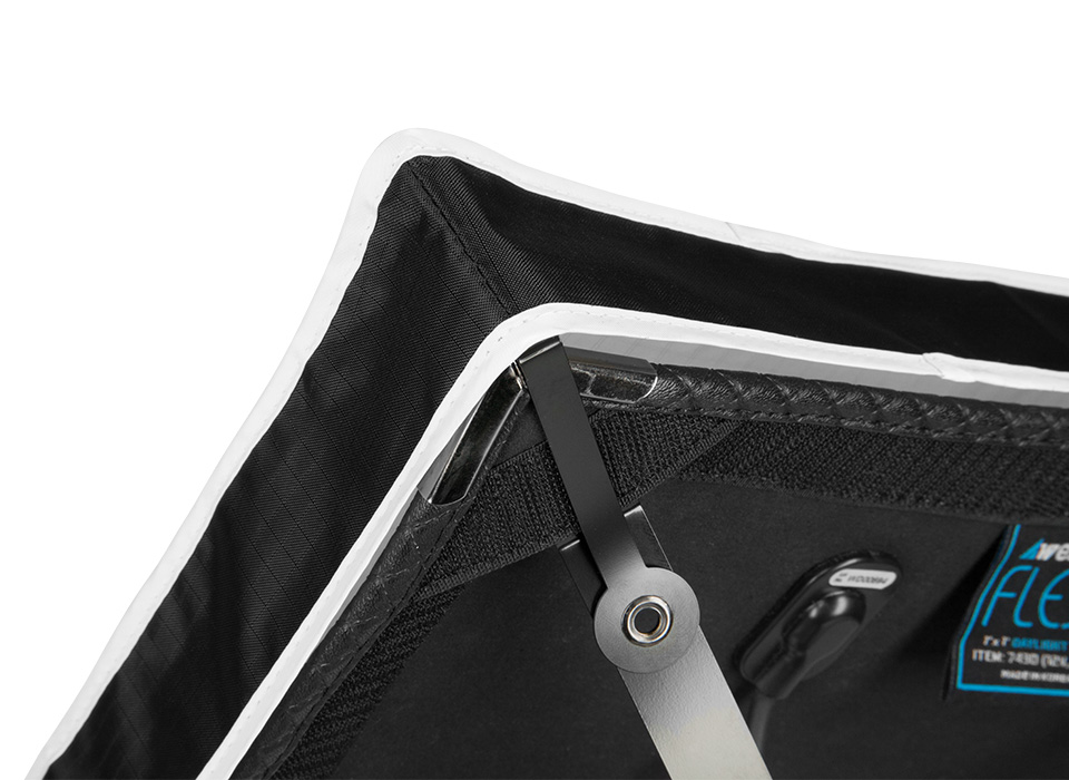 X-Bracket mount and diffusion fabric attaching to Flex LED mat
