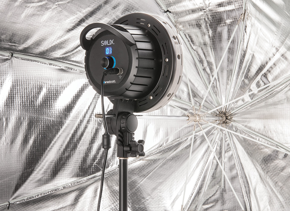 Collapsible octagonal umbrella-style softbox