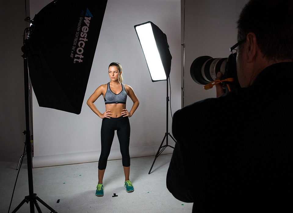 Portrait of athlete in photo studio using Spiderlite TD6 Shallow Softbox
