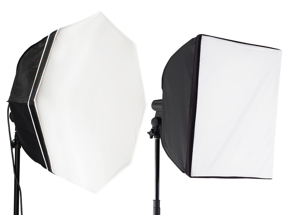 uLite continuous lights with octabox and square softbox