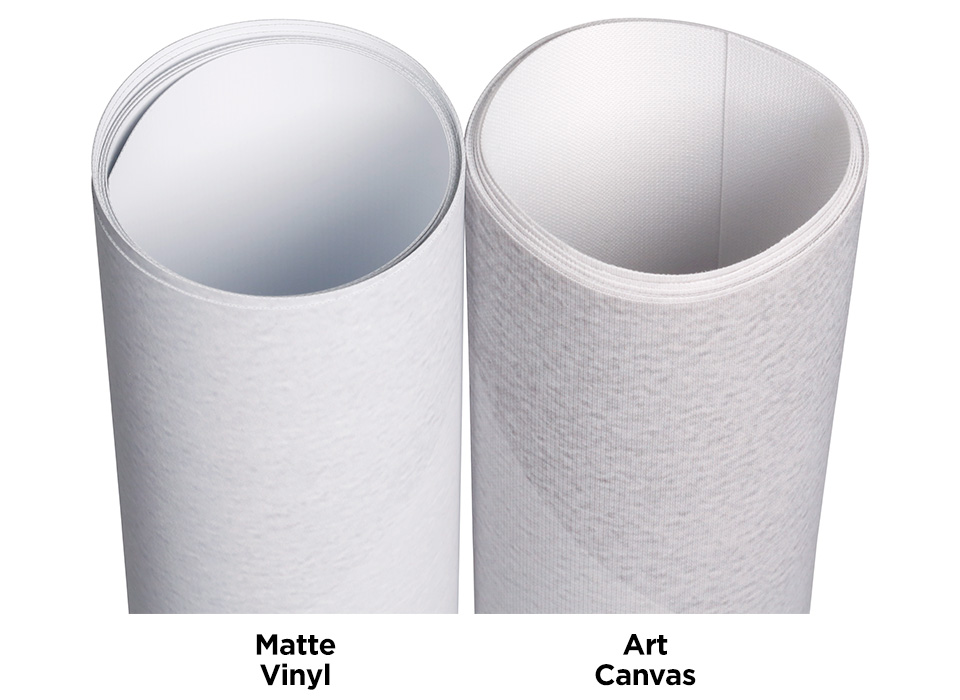 Backdrop and floordrop material options in vinyl or canvas