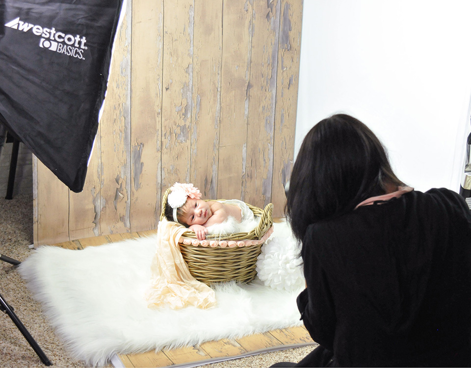 Newborn photography session using the little studio portrait system