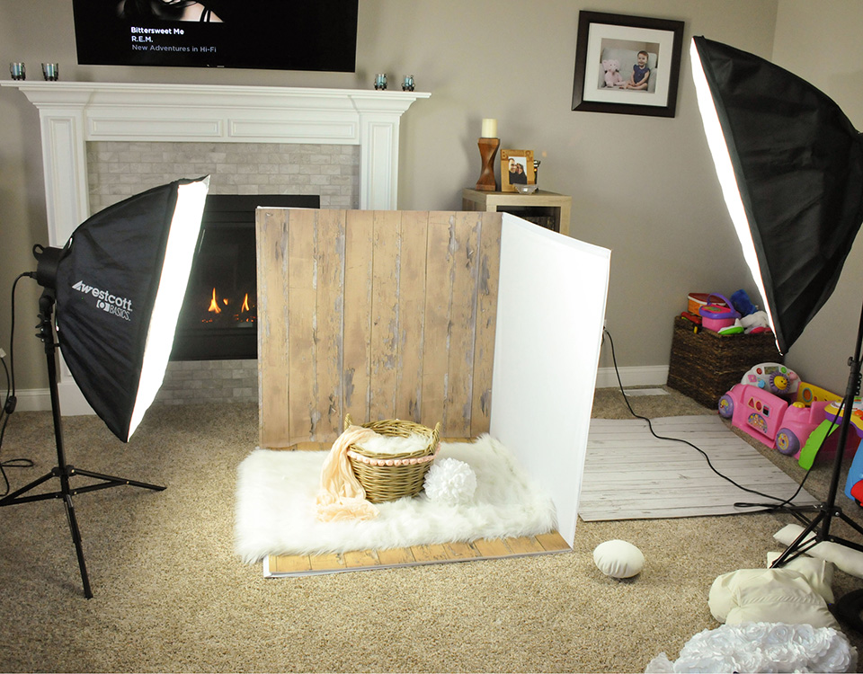 Little Portrait Studio setup at home for newborn photography