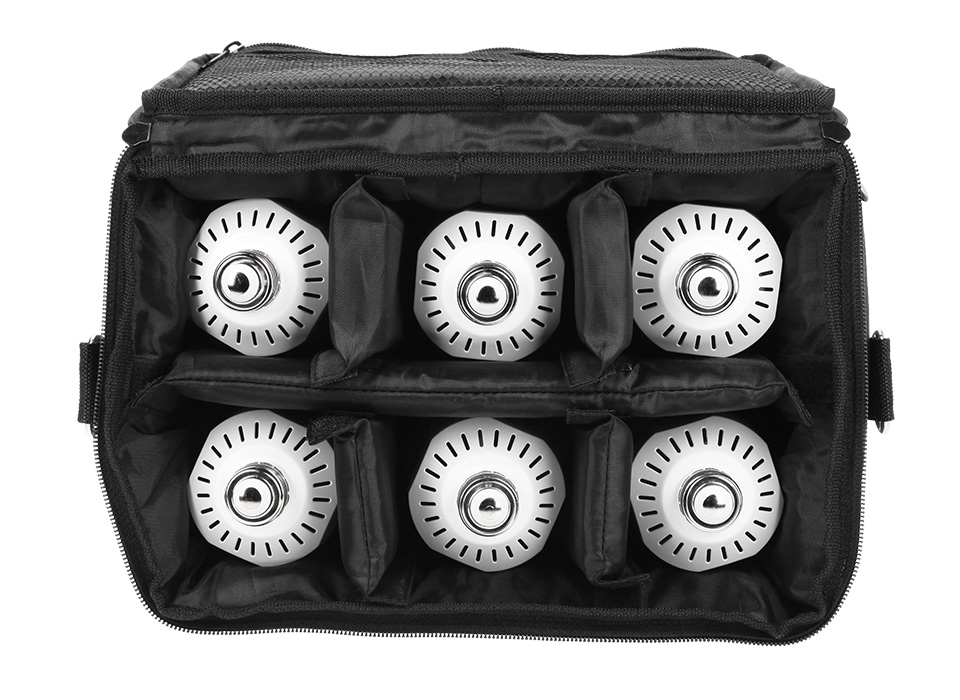 Carry case filled with six lights