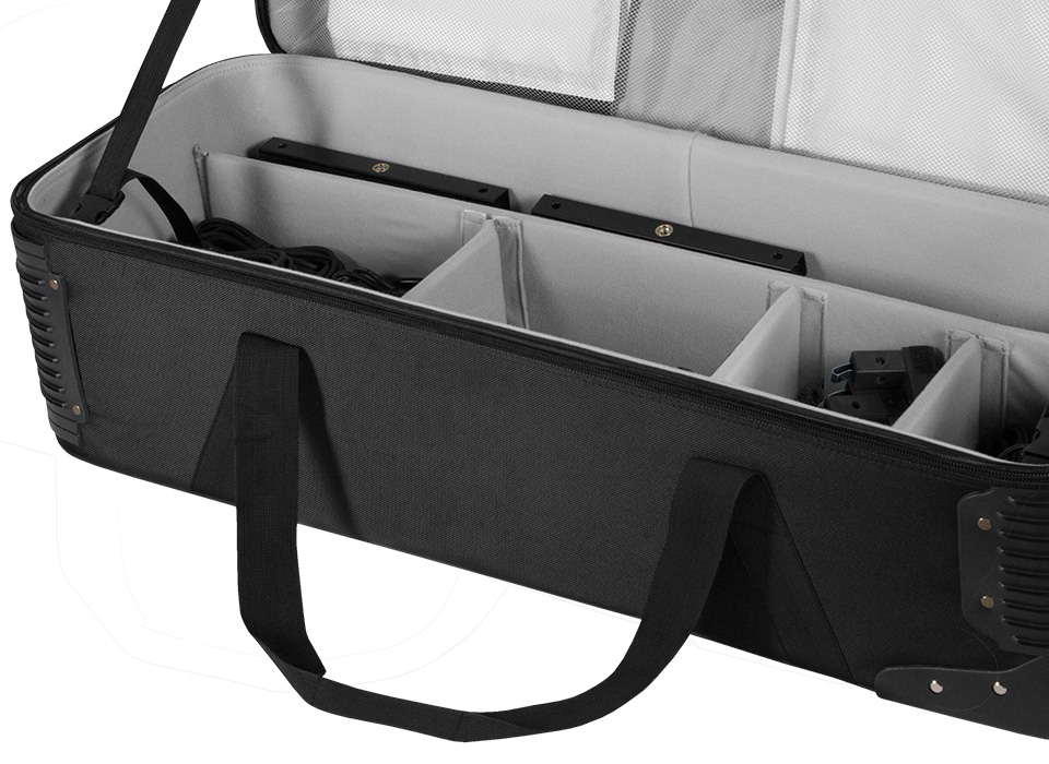 Flex soft wheeled case interior compartments